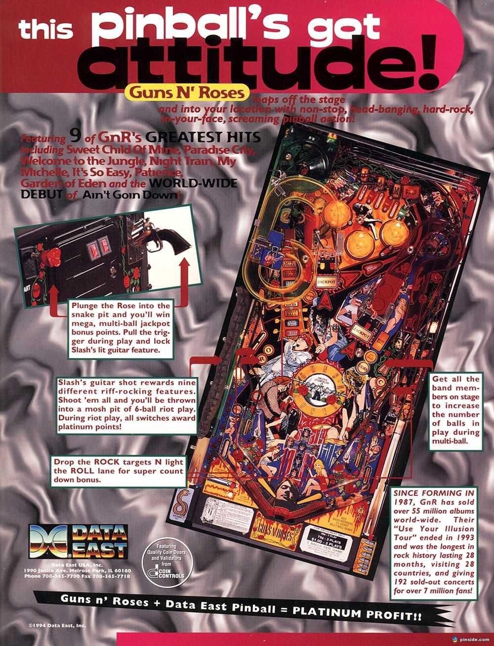 Guns N Roses Pinball Machine Data East 1994 Pinside