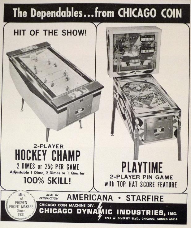 Playtime Pinball Machine (Chicago Coin, 1968) | Pinside Game