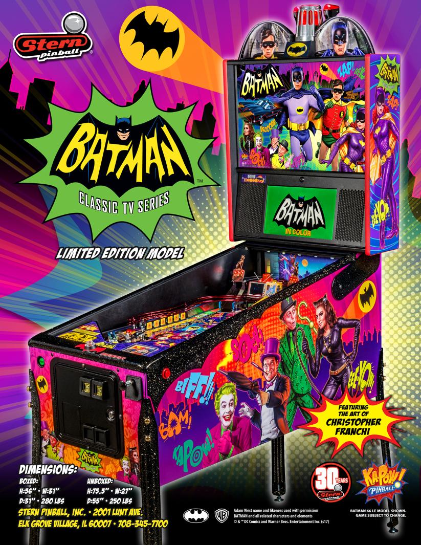 Batman Classic 66 Stern Pinball Vinyl Banner 13x33 Inches