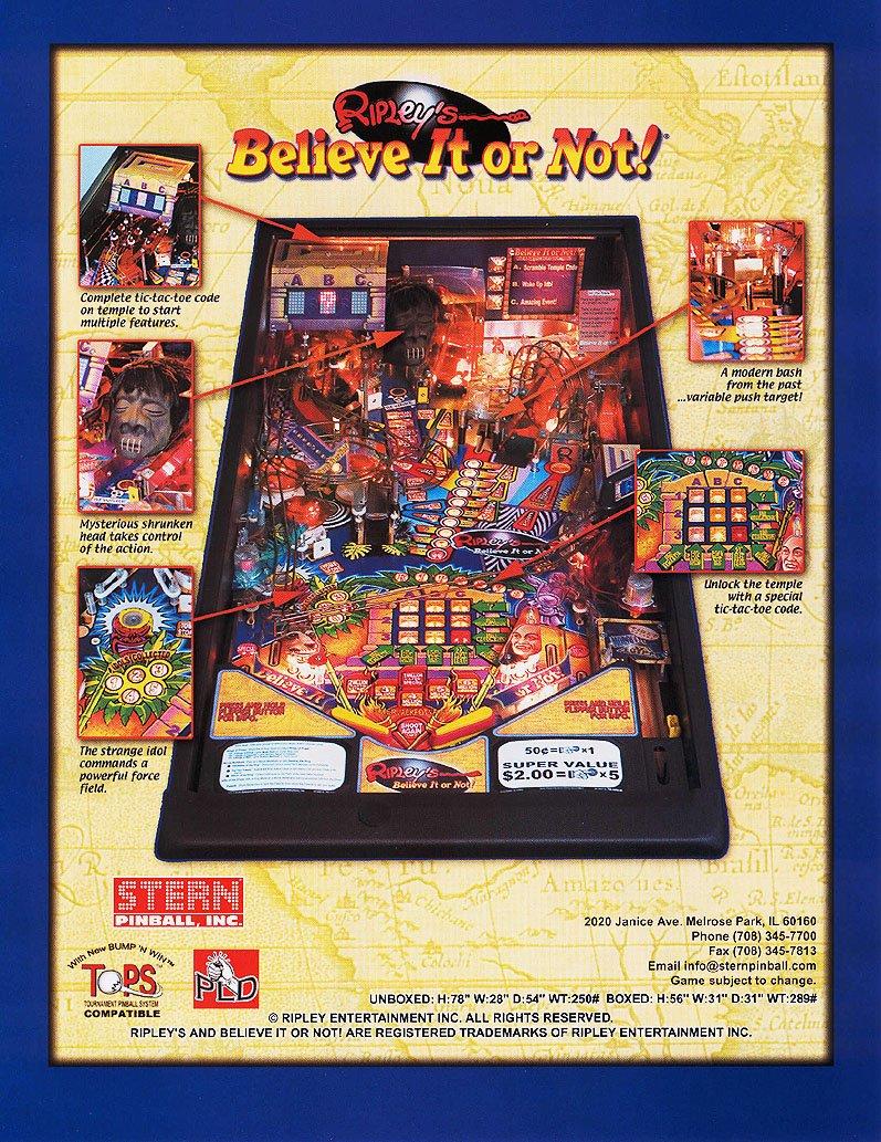 ripley s believe it or not pinball machine stern 2004 pinside