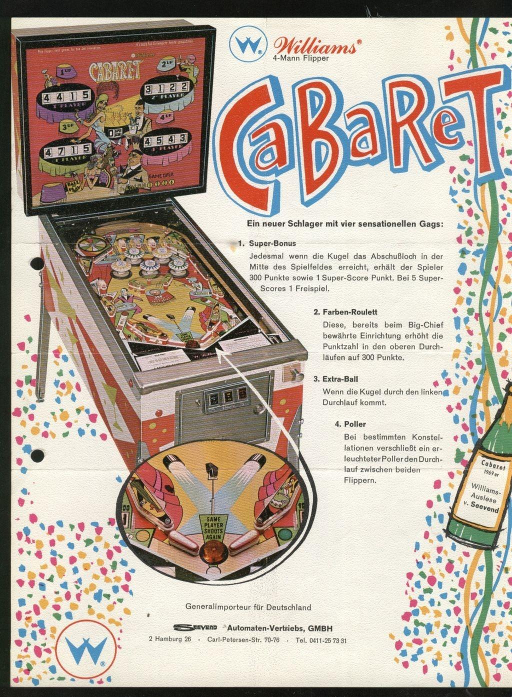 Cabaret Pinball Machine (Williams, 1968)   Pinside Game Archive